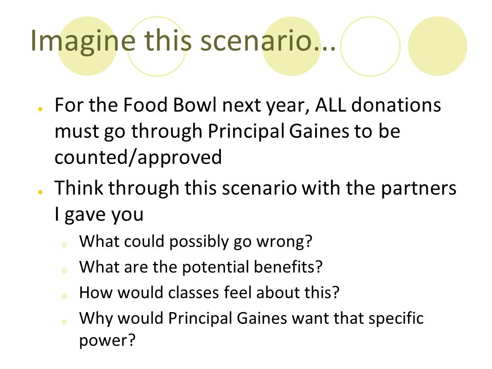 Imagine this scenario... For the Food Bowl next year, ALL donations must go through Principal Gaines to be counted/approved.