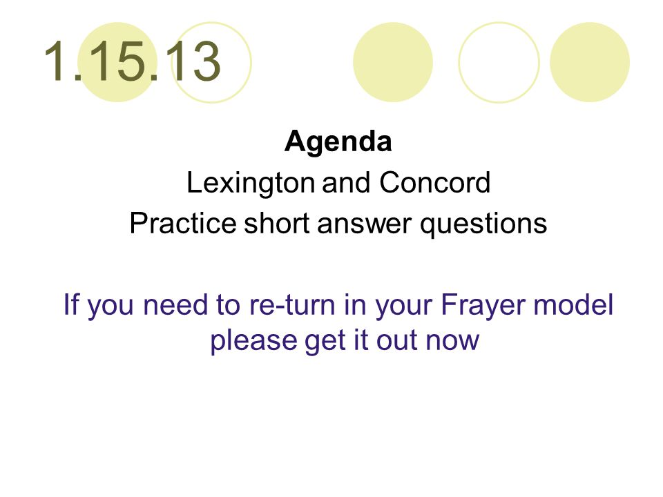 1.15.13 Agenda Lexington and Concord Practice short answer questions