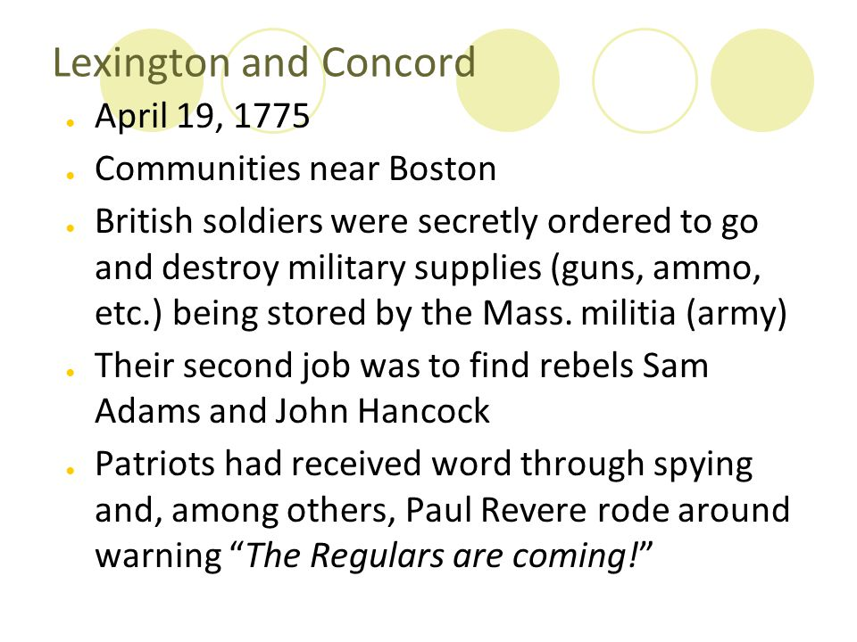 Lexington and Concord April 19, 1775 Communities near Boston
