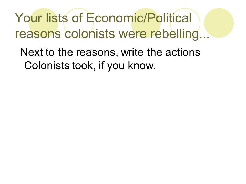 Your lists of Economic/Political reasons colonists were rebelling...