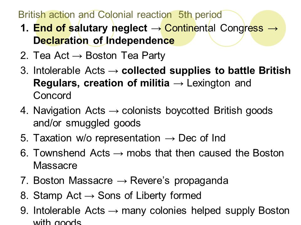 British action and Colonial reaction 5th period