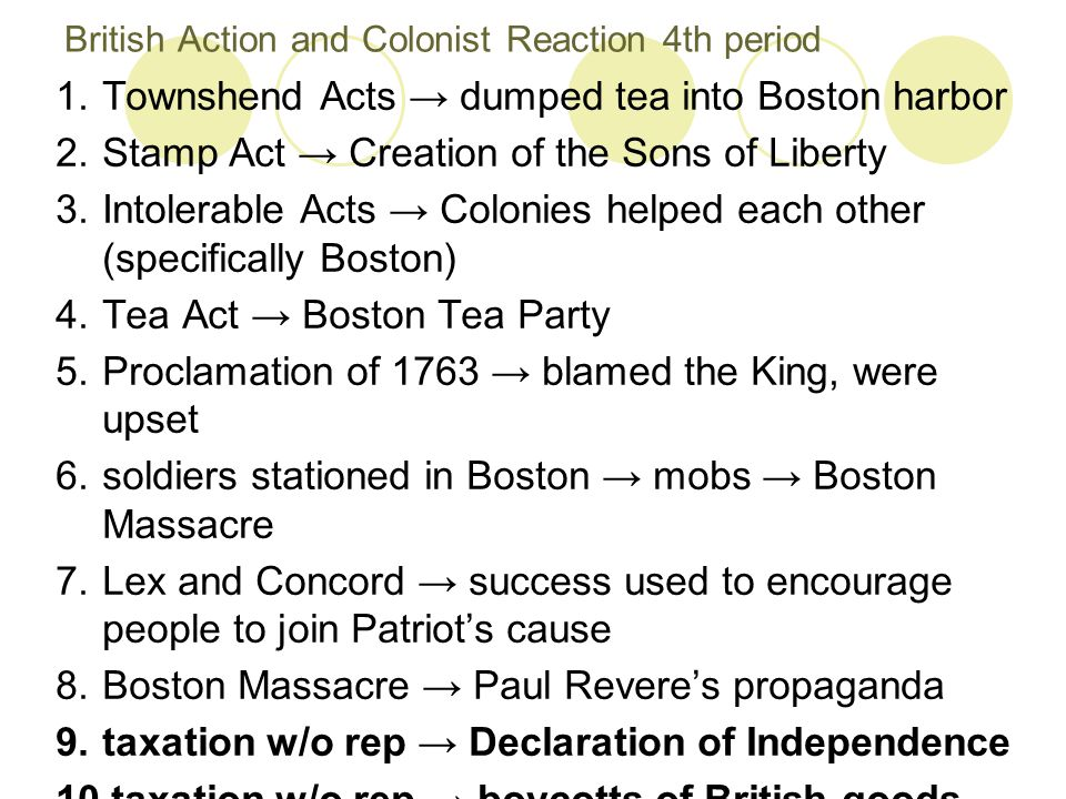 British Action and Colonist Reaction 4th period