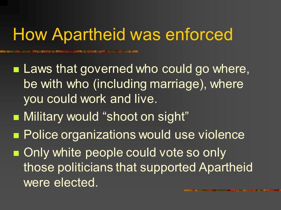 How Apartheid was enforced