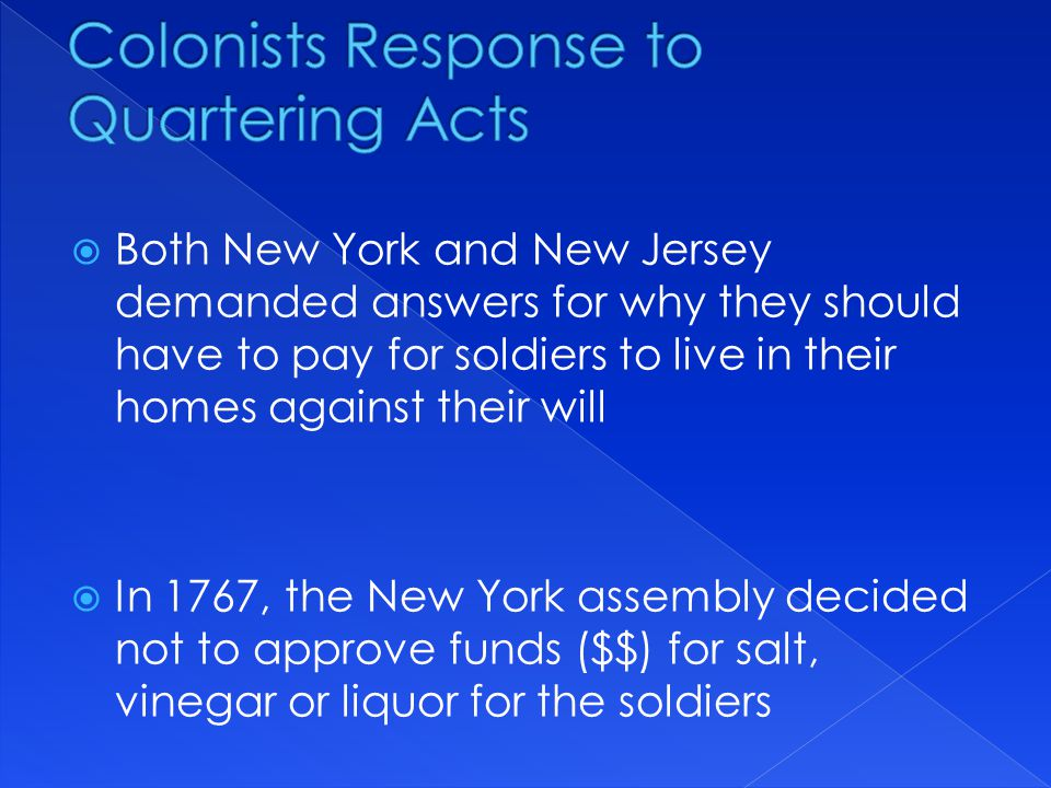 Colonists Response to Quartering Acts