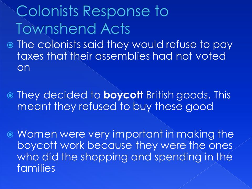 Colonists Response to Townshend Acts