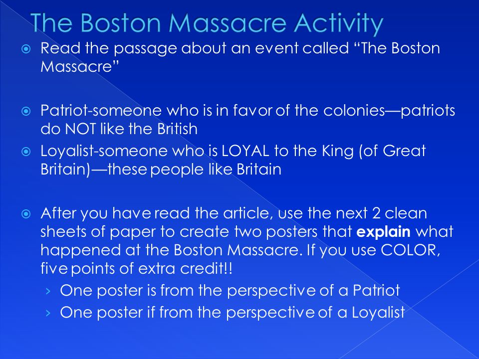The Boston Massacre Activity