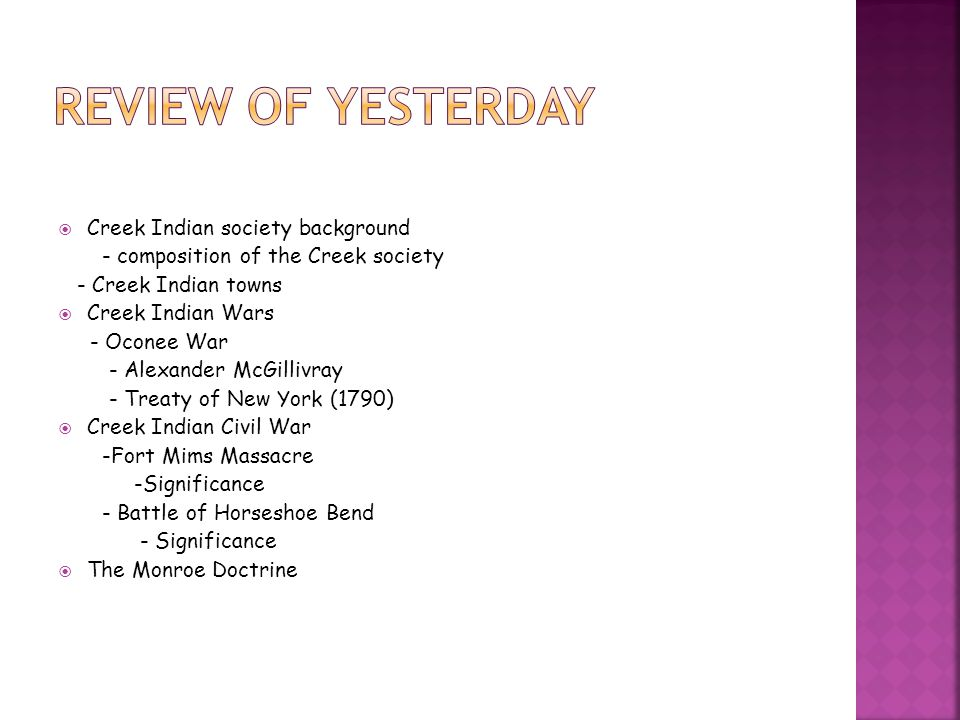 Review of Yesterday Creek Indian society background