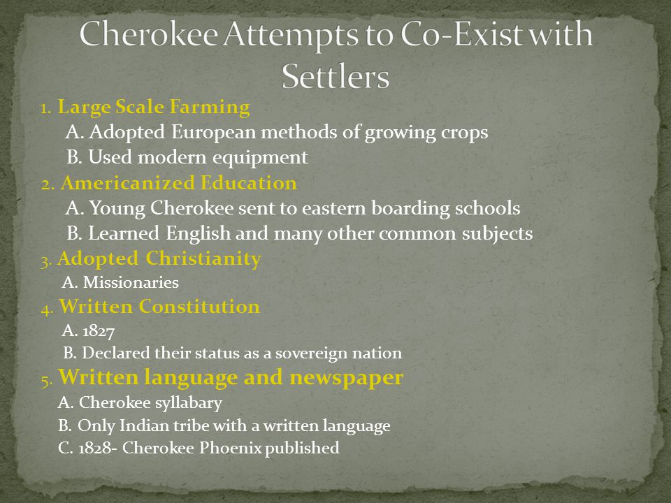 Cherokee Attempts to Co-Exist with Settlers
