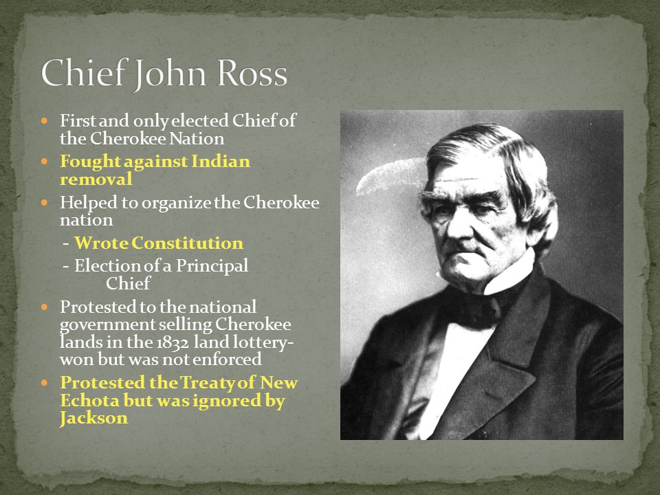 Chief John Ross First and only elected Chief of the Cherokee Nation