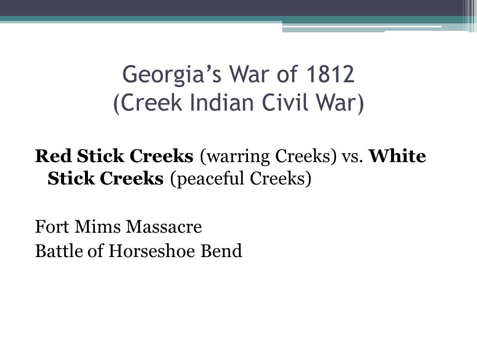 Georgia's War of 1812 (Creek Indian Civil War)