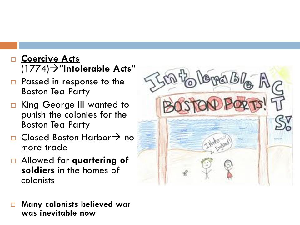 Coercive Acts (1774) Intolerable Acts