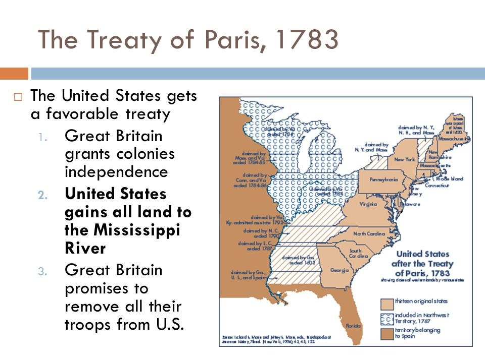 The Treaty of Paris, 1783 The United States gets a favorable treaty