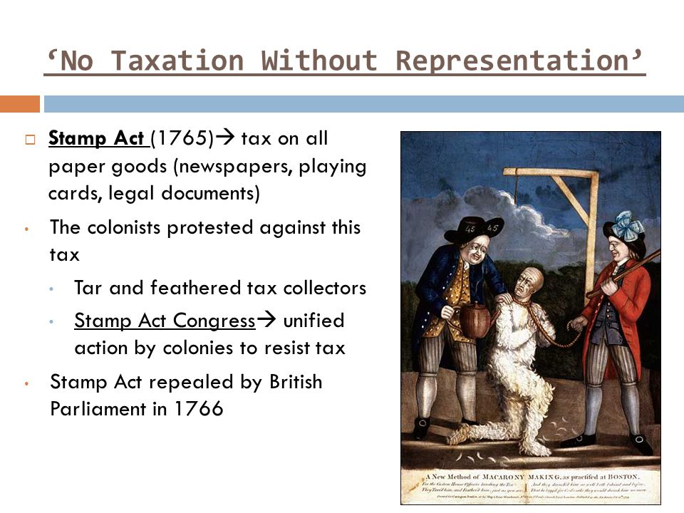 'No Taxation Without Representation'