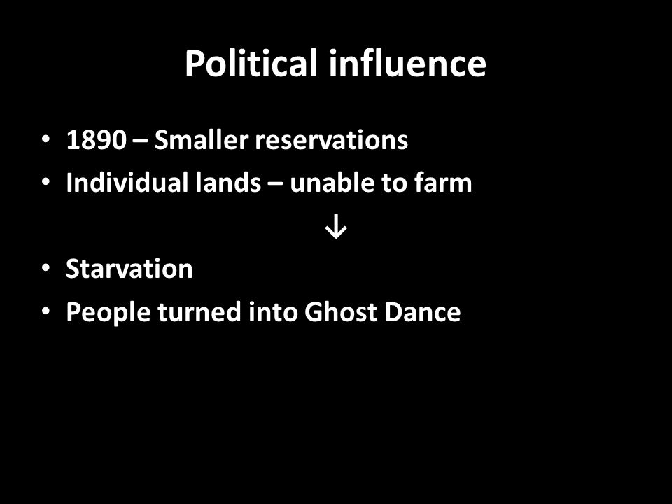 Political influence 1890 – Smaller reservations