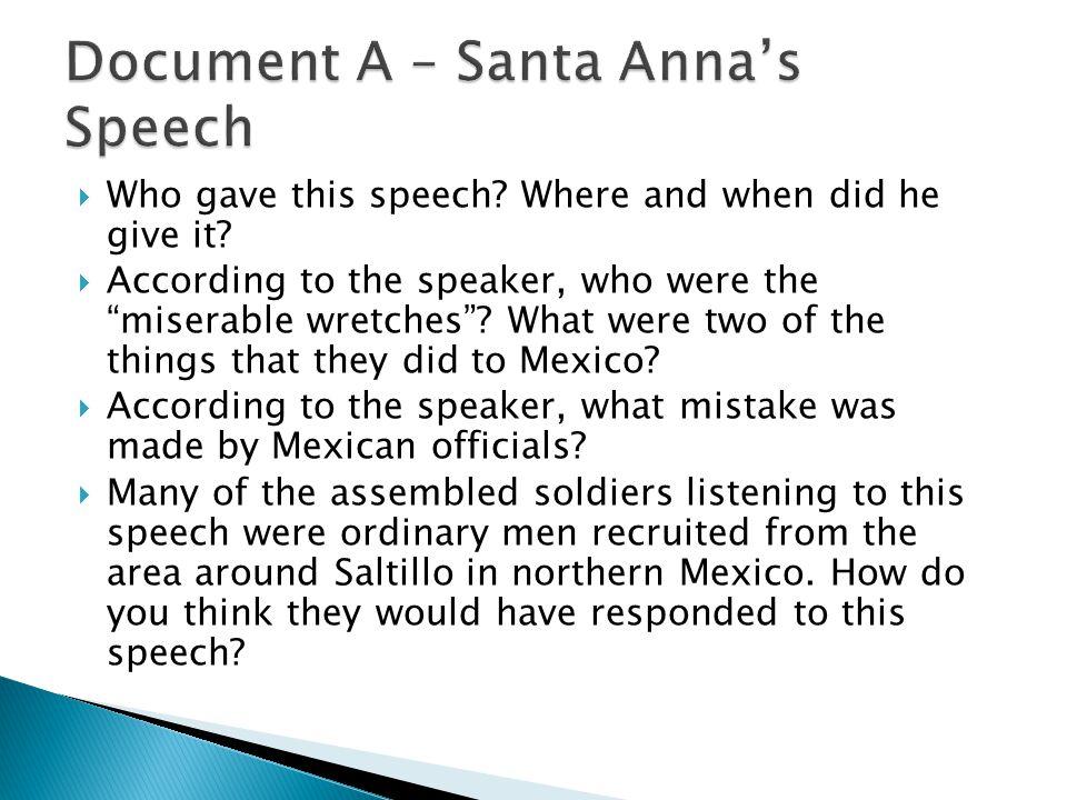 Document A – Santa Anna's Speech
