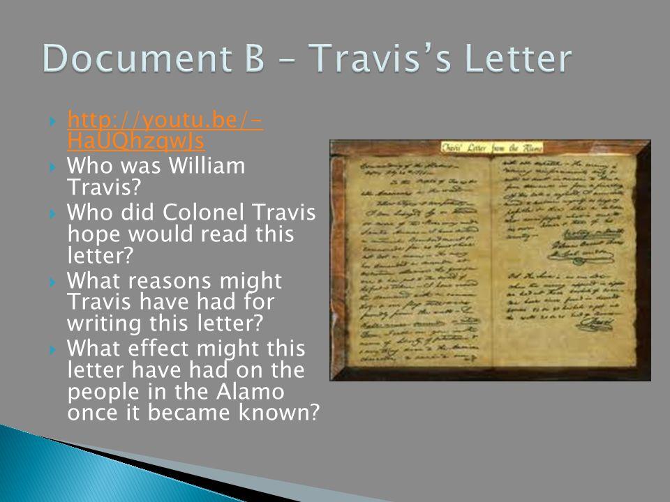 Document B – Travis's Letter