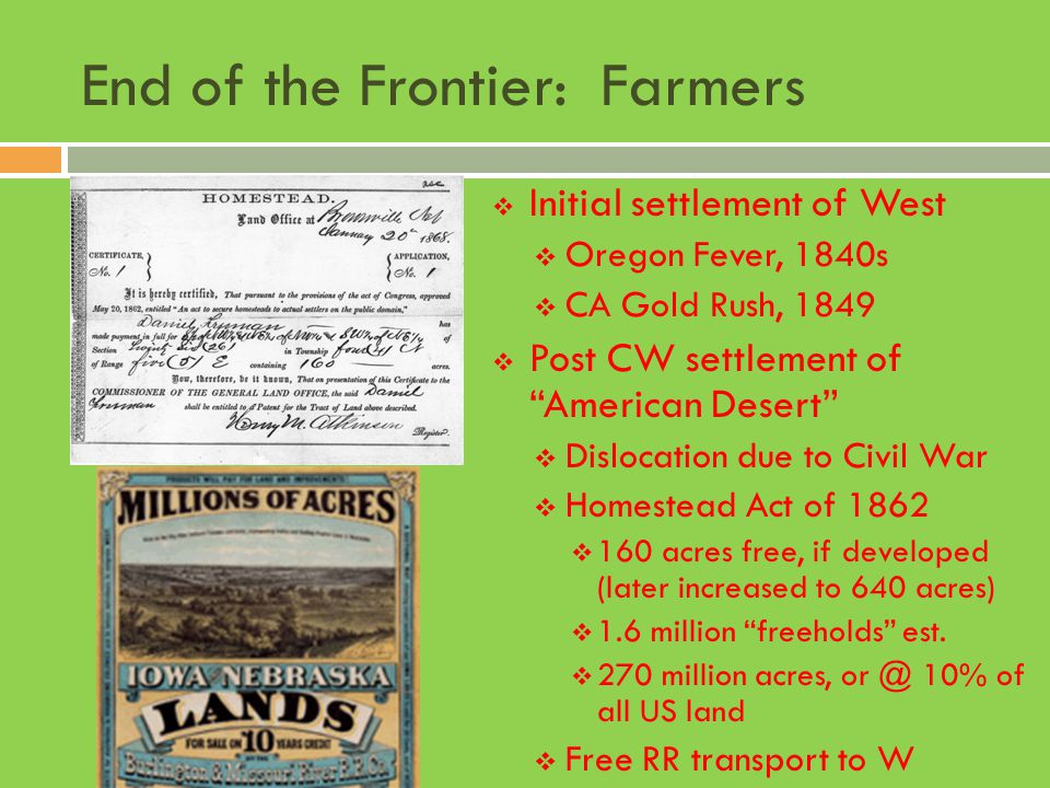 End of the Frontier: Farmers
