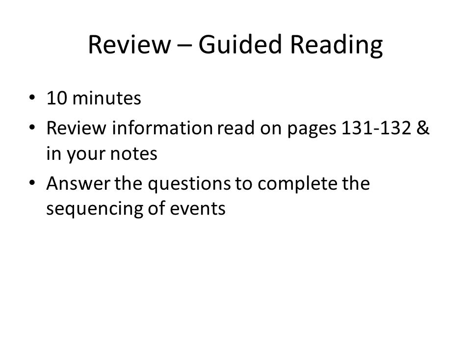 Review – Guided Reading