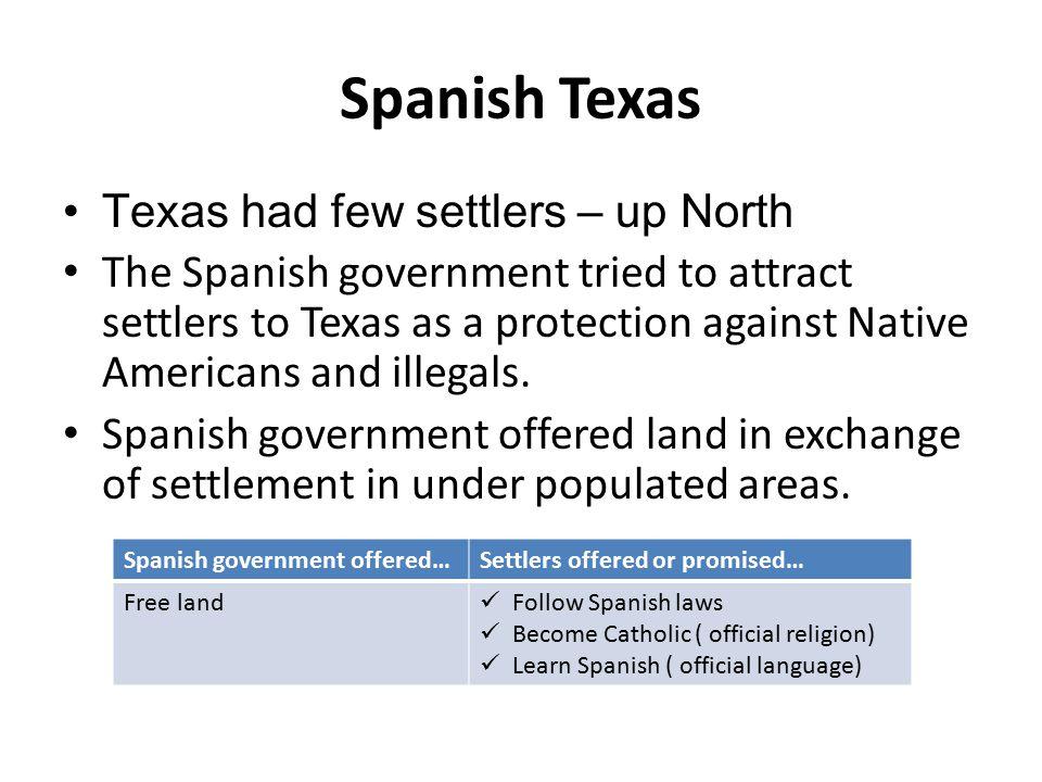 Spanish Texas Texas had few settlers – up North