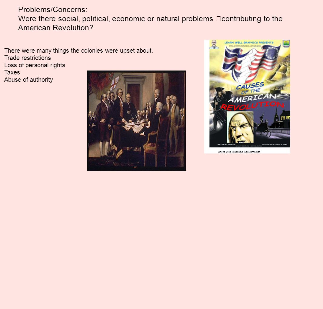 Problems/Concerns: Were there social, political, economic or natural problems contributing to the American Revolution