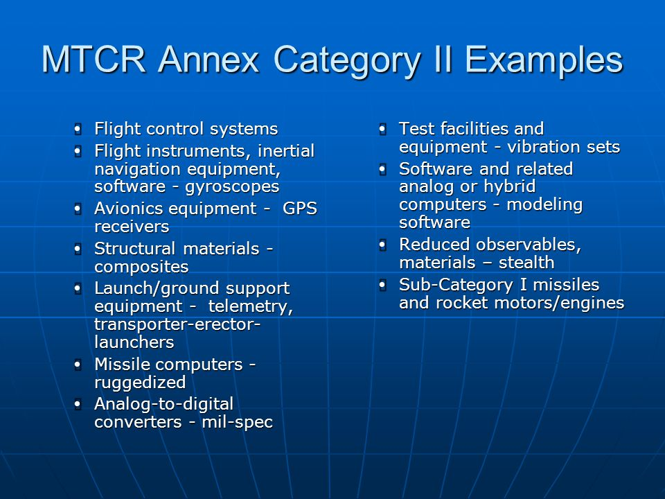 MTCR Annex Category II Examples
