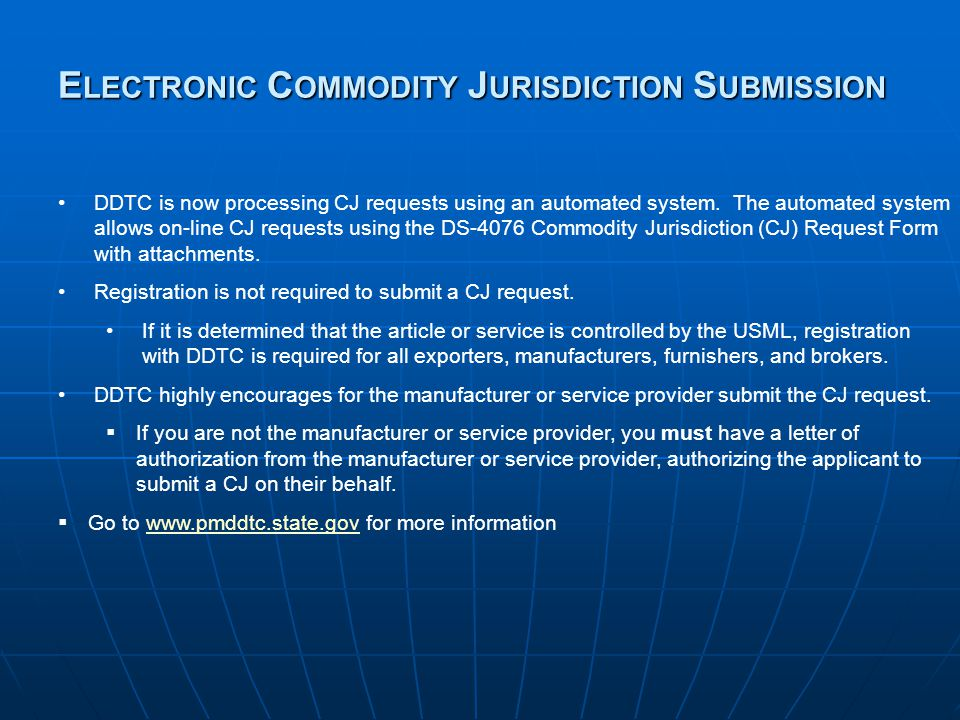 Electronic Commodity Jurisdiction Submission