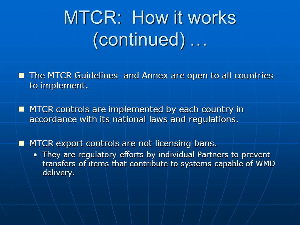 MTCR: How it works (continued) …