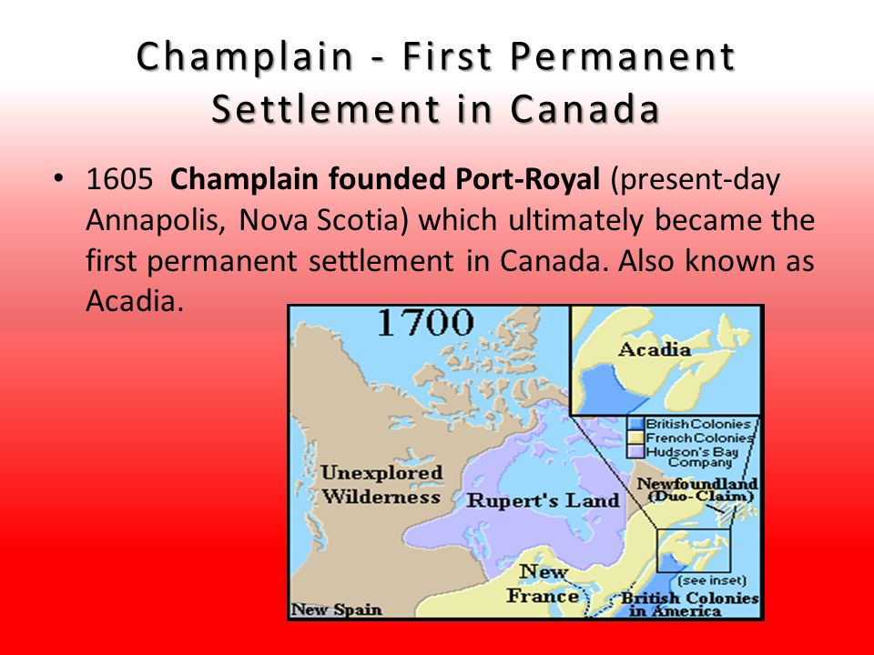 Champlain - First Permanent Settlement in Canada