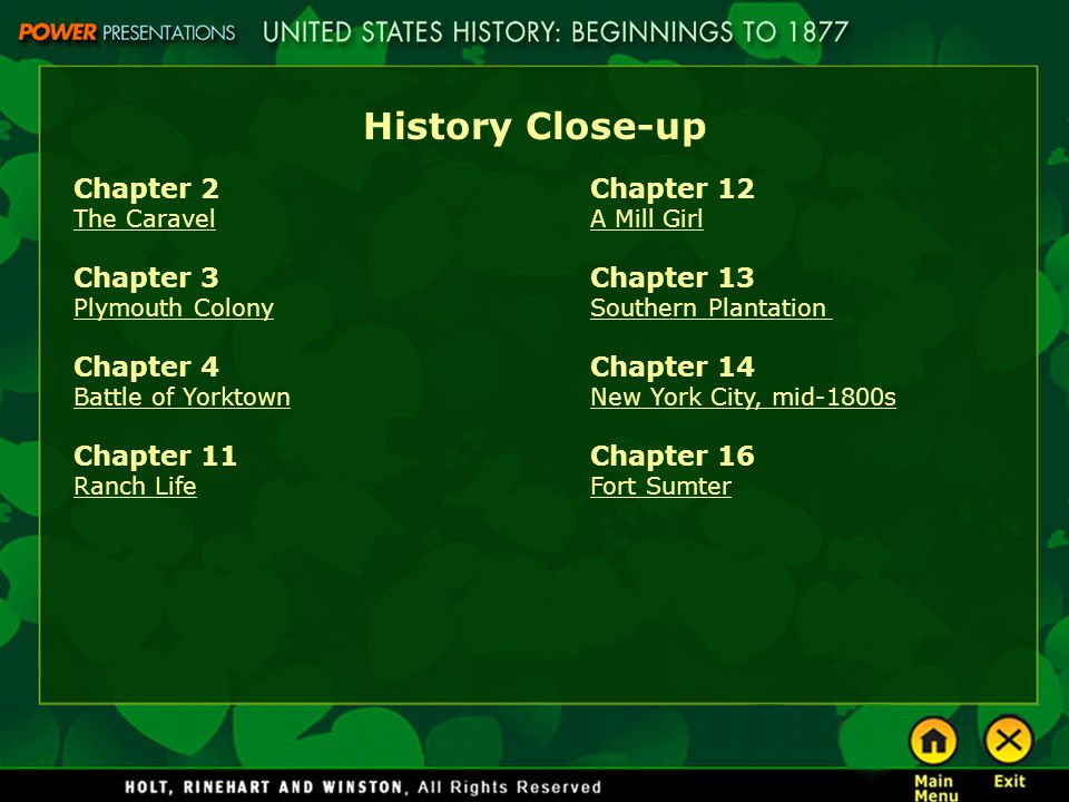 History Close-up Chapter 2 Chapter 3 Chapter 4 Chapter 11 Chapter 12