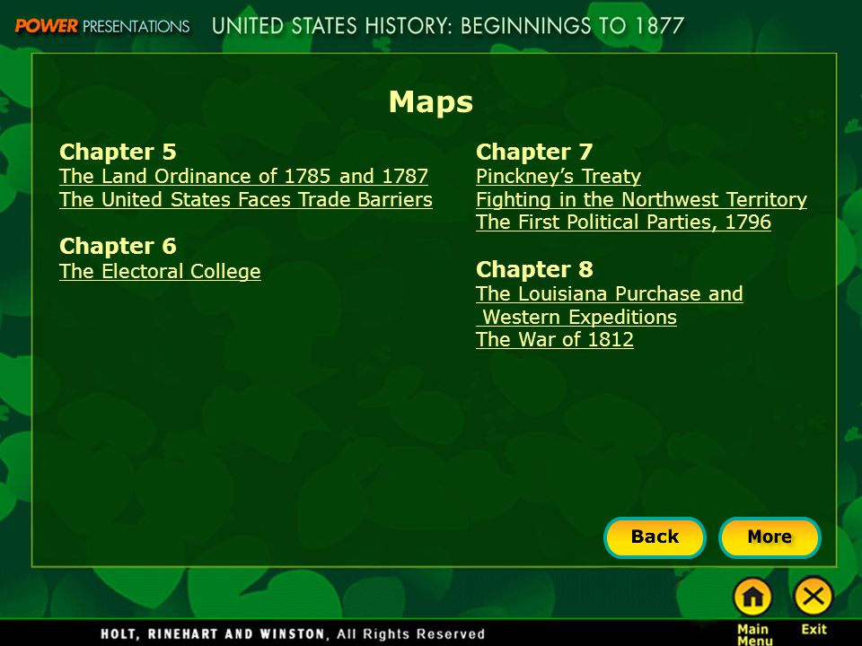 Maps Chapter 5 Chapter 6 Chapter 7 Chapter 8