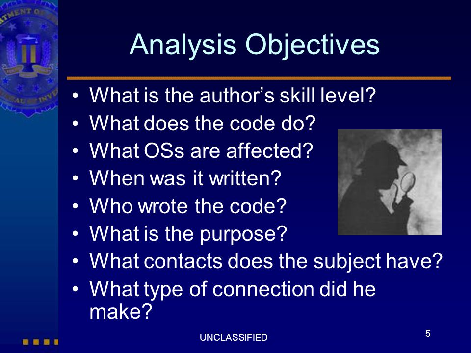 Analysis Objectives What is the author's skill level