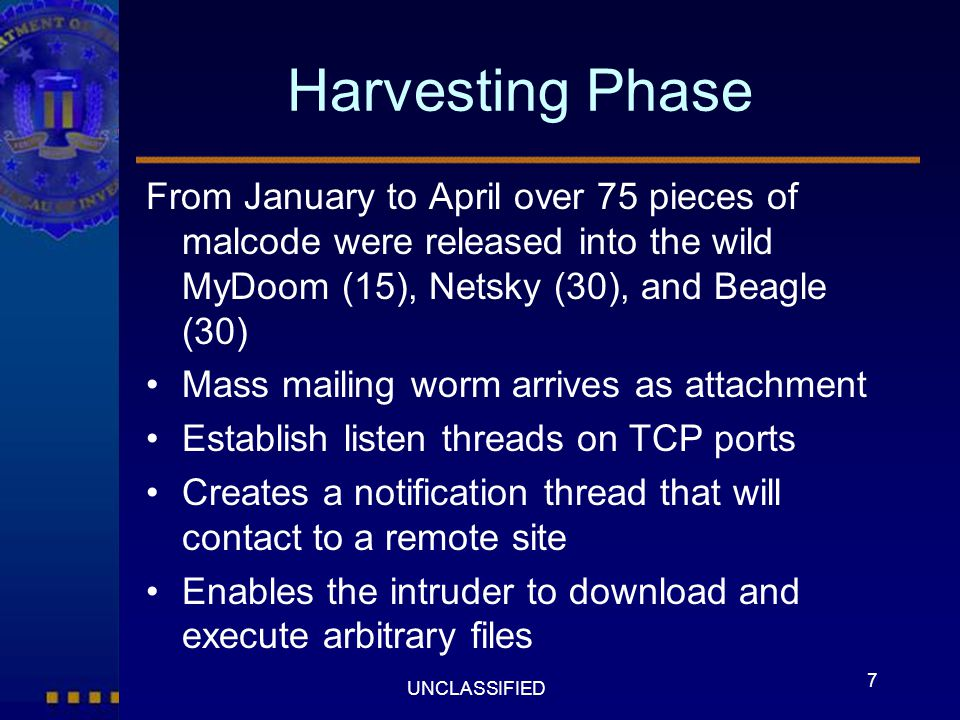 Harvesting Phase From January to April over 75 pieces of malcode were released into the wild MyDoom (15), Netsky (30), and Beagle (30)