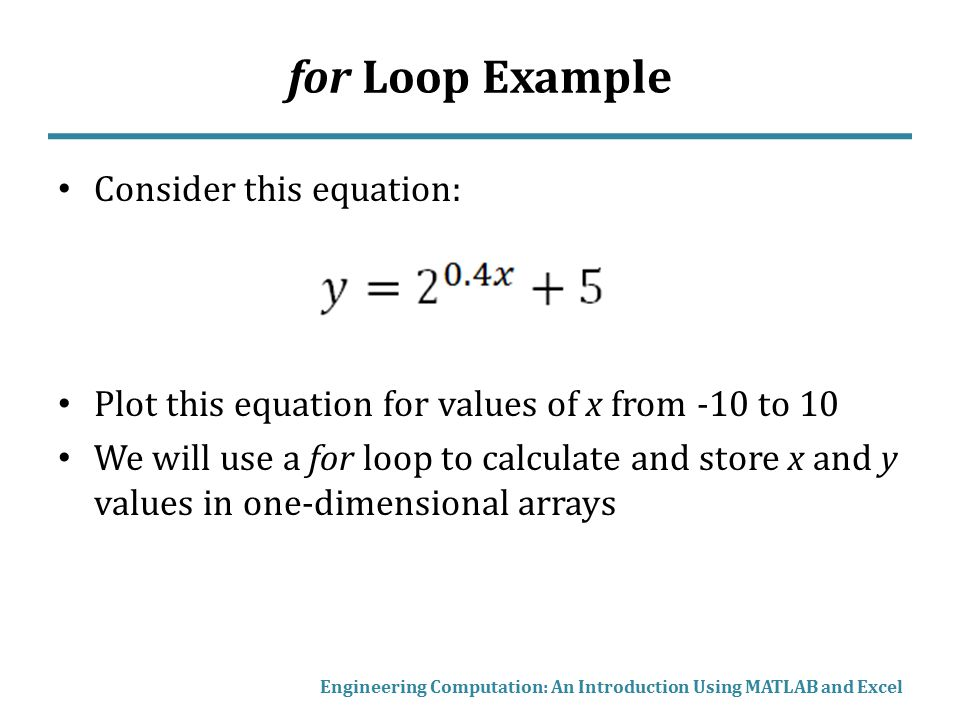 for Loop Example Consider this equation: