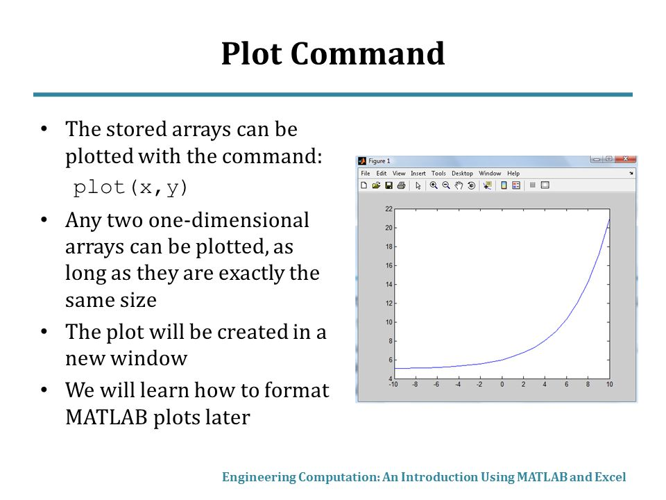 Plot Command The stored arrays can be plotted with the command:
