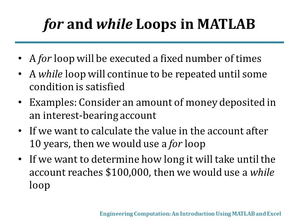 for and while Loops in MATLAB