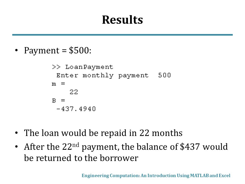 Results Payment = $500: The loan would be repaid in 22 months