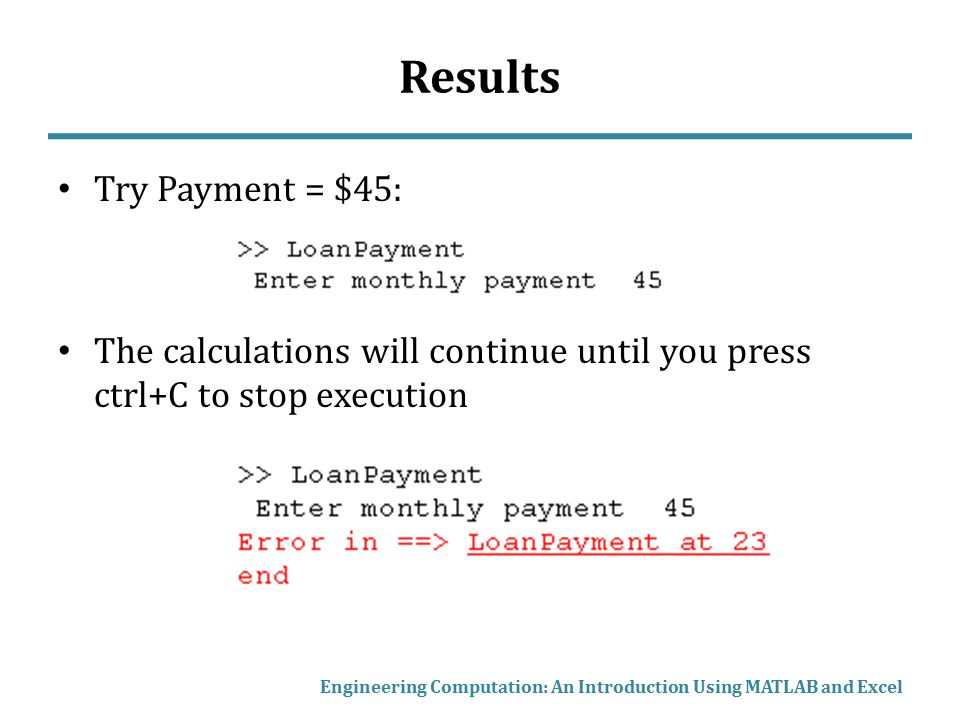 Results Try Payment = $45: