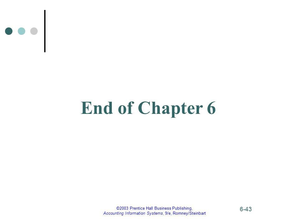 End of Chapter 6 ©2003 Prentice Hall Business Publishing,