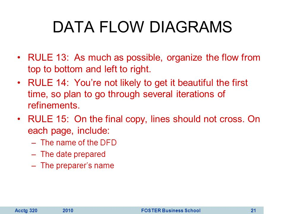 DATA FLOW DIAGRAMS RULE 13: As much as possible, organize the flow from top to bottom and left to right.