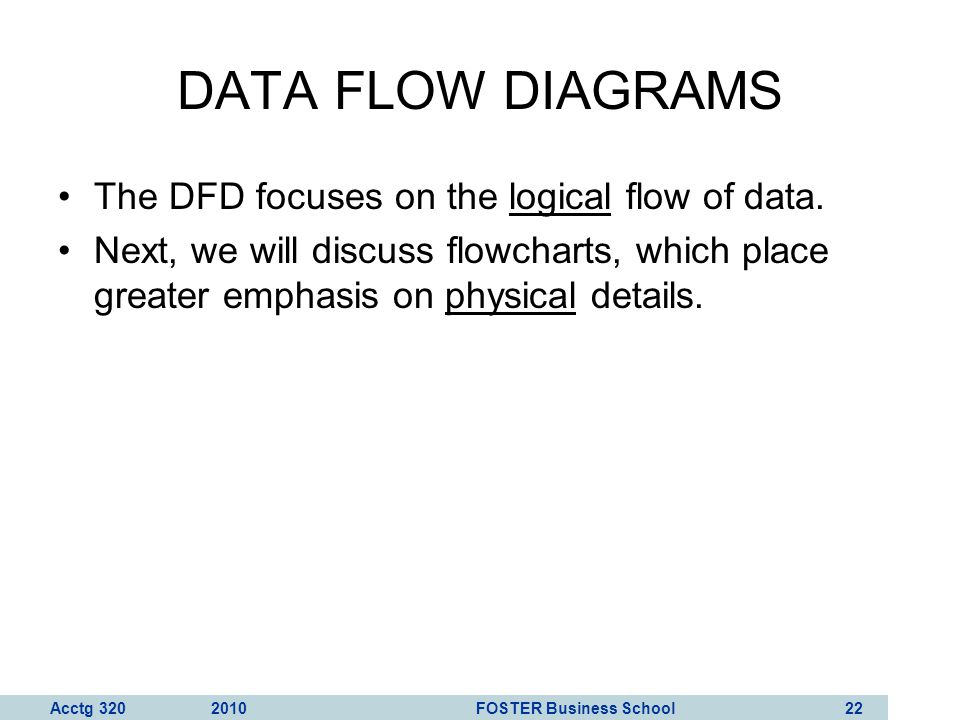 DATA FLOW DIAGRAMS The DFD focuses on the logical flow of data.