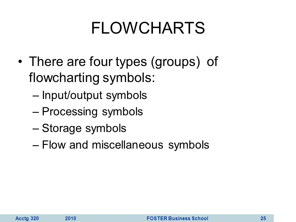 FLOWCHARTS There are four types (groups) of flowcharting symbols: