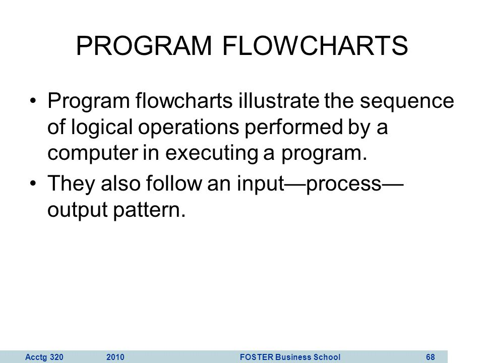 PROGRAM FLOWCHARTS Program flowcharts illustrate the sequence of logical operations performed by a computer in executing a program.