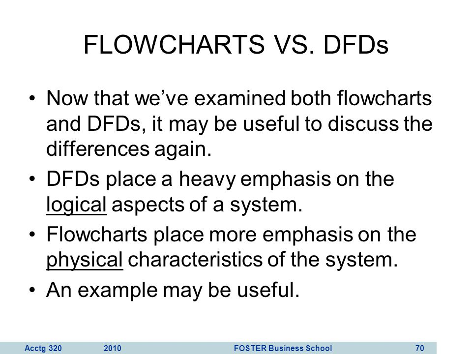 FLOWCHARTS VS. DFDs Now that we've examined both flowcharts and DFDs, it may be useful to discuss the differences again.