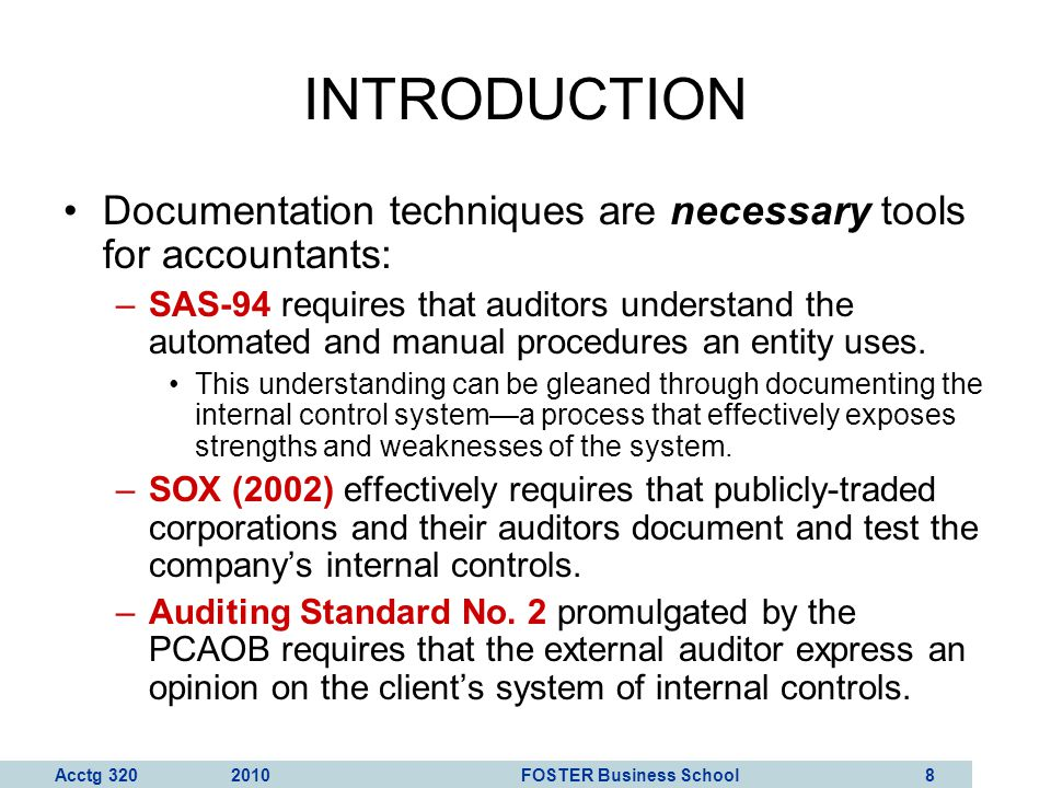 INTRODUCTION Documentation techniques are necessary tools for accountants: