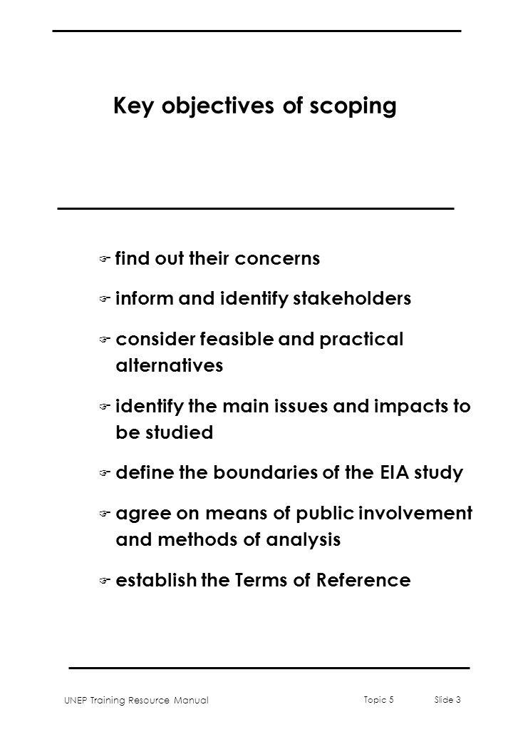 Key objectives of scoping