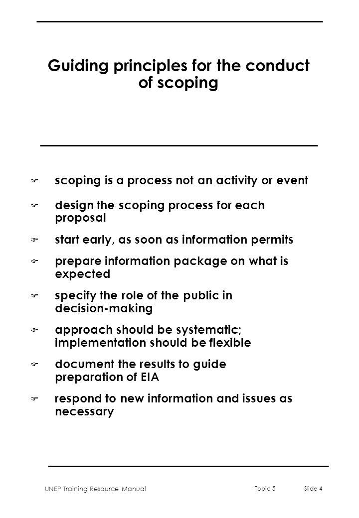 Guiding principles for the conduct of scoping