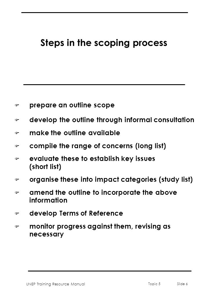 Steps in the scoping process