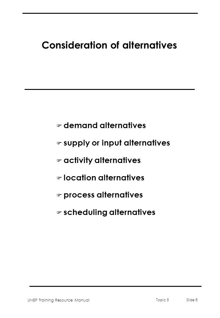 Consideration of alternatives