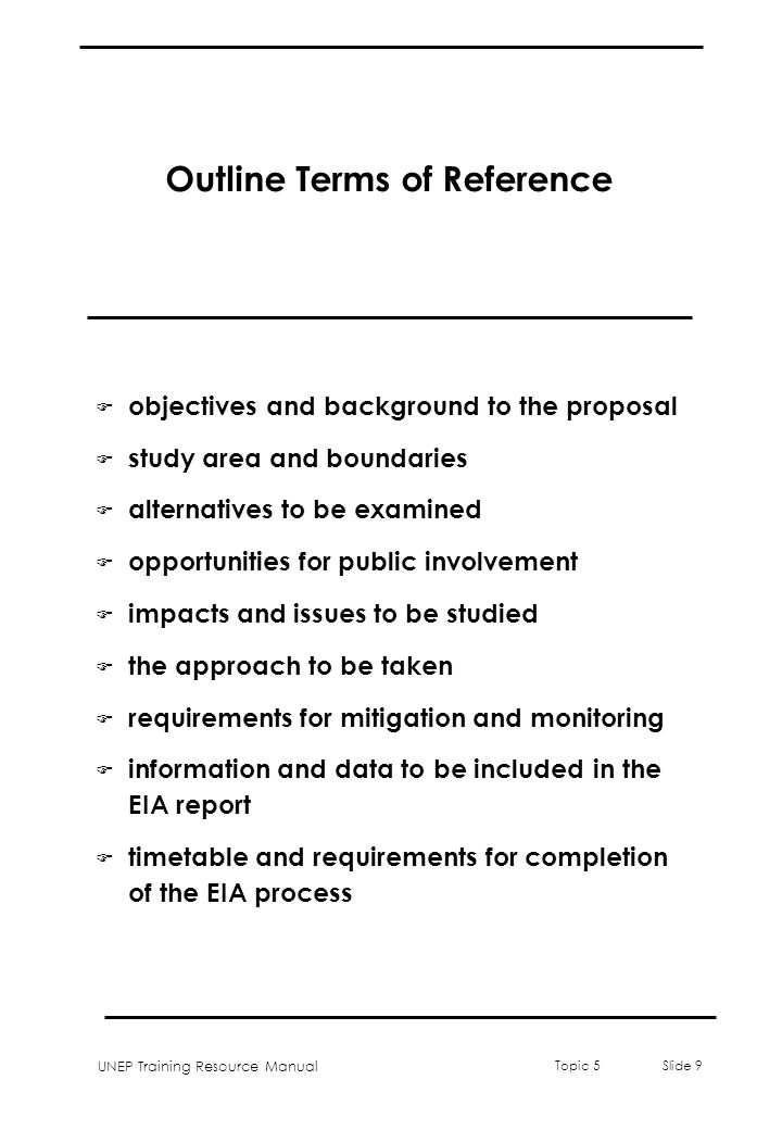 Outline Terms of Reference