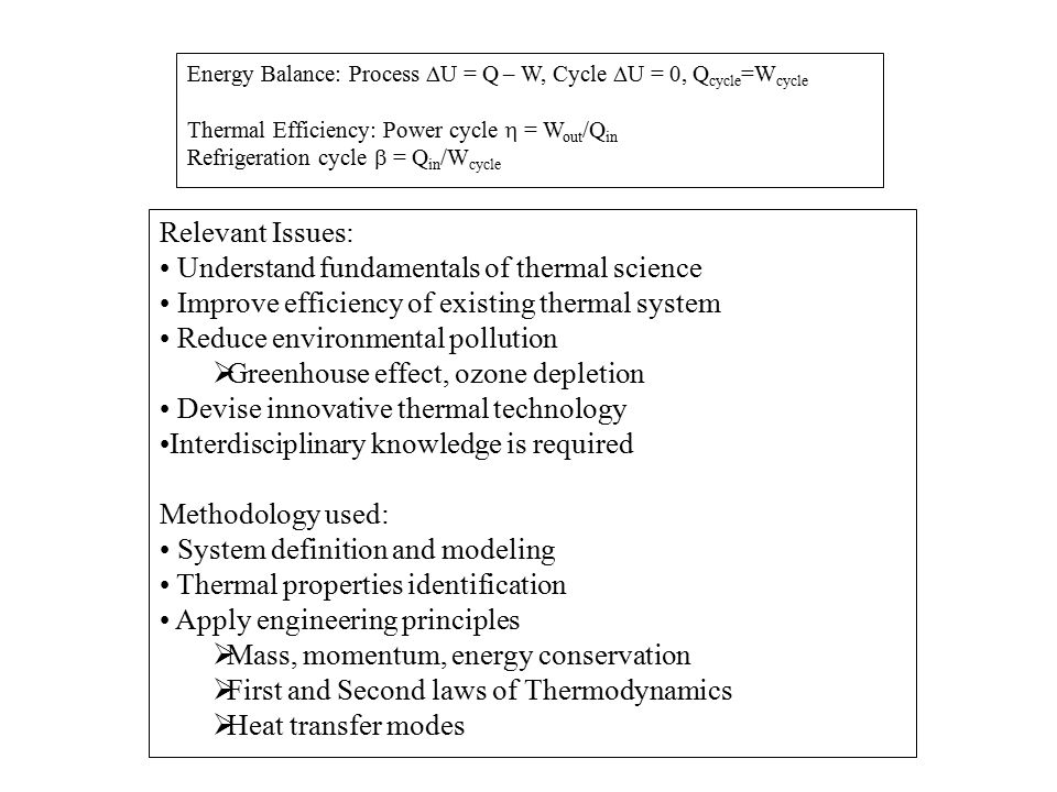 Understand fundamentals of thermal science